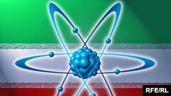 Iran -- Iran flag with atom model, 03Nov2009