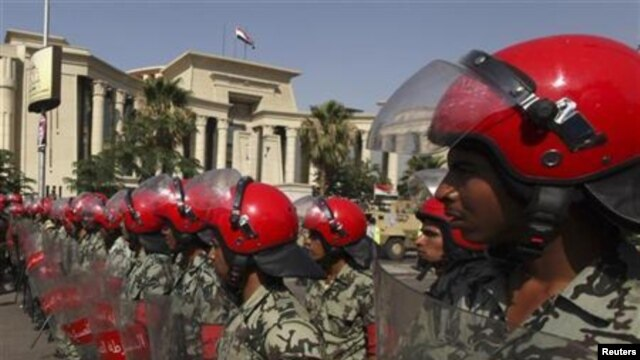 Members of the military police in front of the Supreme Constitutional Court in Cairo, archives